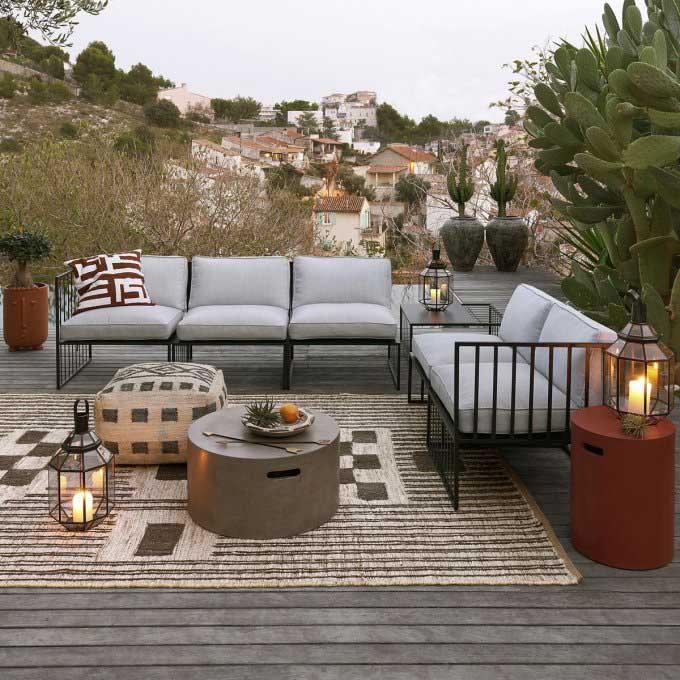 sofás de acero inoxidable para la terraza de casa