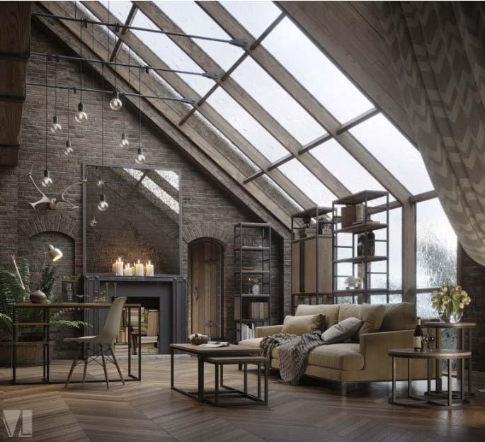 Lámparas colgantes de diseño en lofts industriales