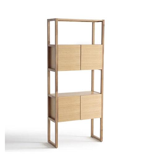 librería de madera con puertas y cajones de estilo nórdico