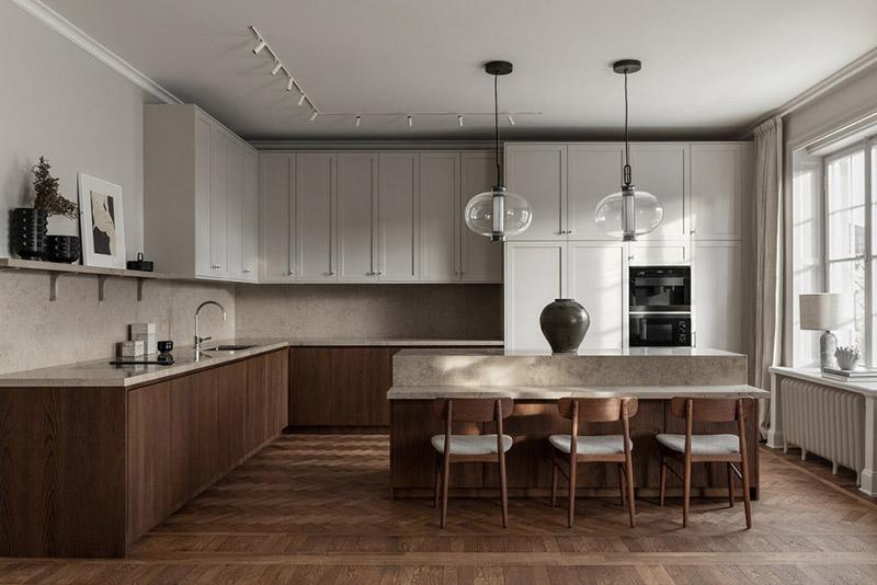 cocina con muebles de diseño escandinavo