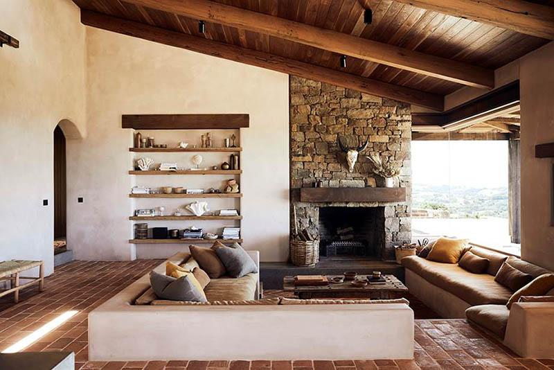 Una sala de estar de estilo rústico moderno en una casa de campo