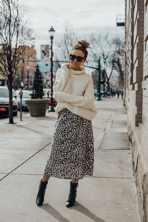 faldas midi con estampado animal print