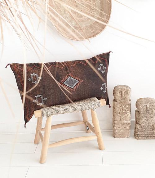 cojín marroquí de estilo Sabra con funda de seda