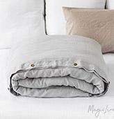 funda de edredón de lino de color gris claro