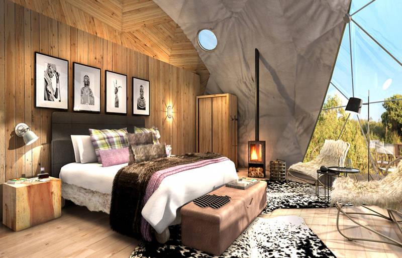 Decoración de una habitación glamping