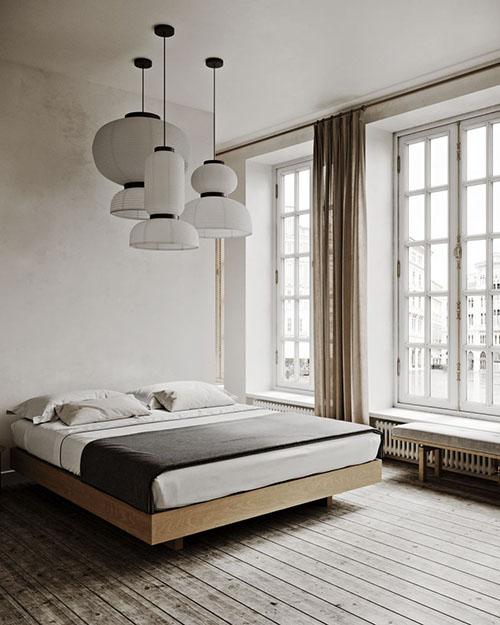lámparas de papel en un dormitorio