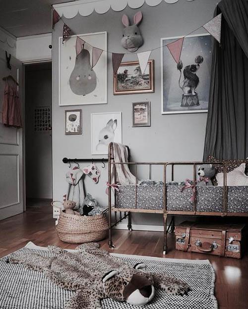 dormitorios infantiles con decoración vintage