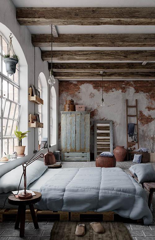Un dormitorio con una decoración rustico industrial