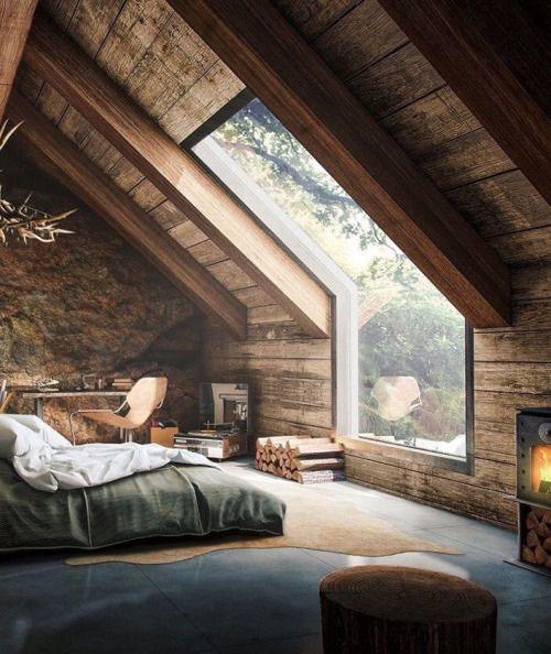 Una habitación de estilo rústico en una buhardilla