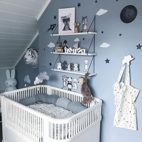 habitación infantil decorada en color azul y blanco