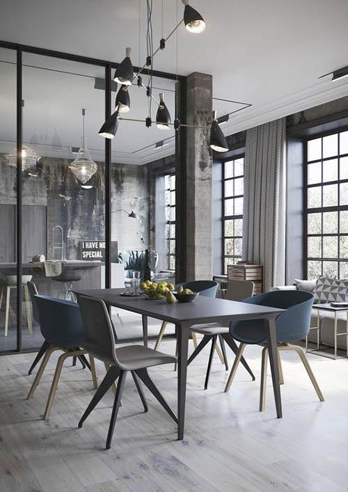 Decoración de comedores estilo loft industrial