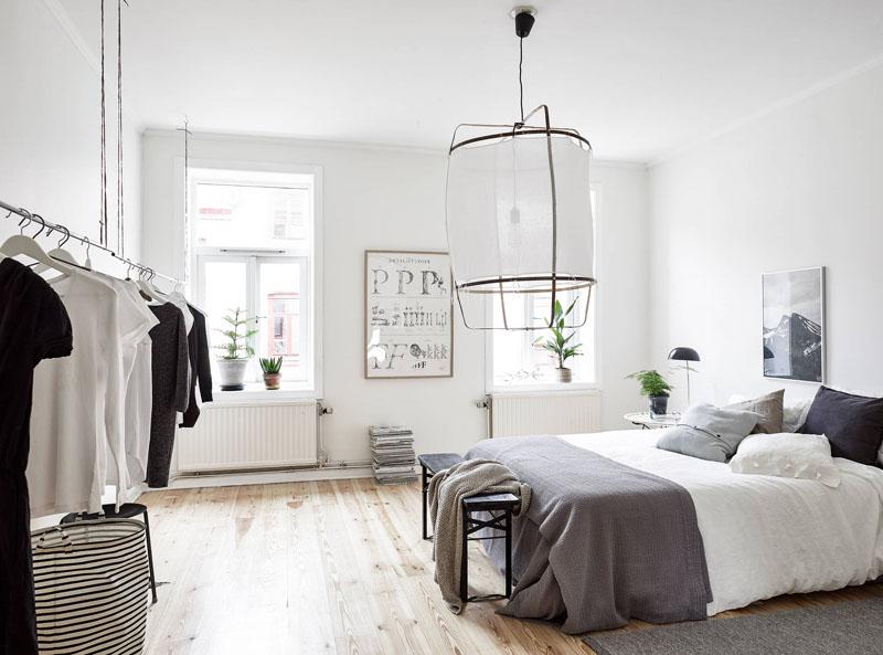 lámpara de lino en un dormitorio nórdico