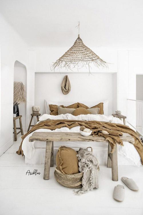 lámparas de techo de fibras naturales para la decoración de dormitorios