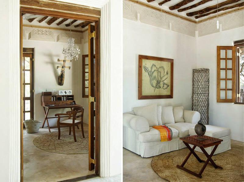 Interiores con detalles étnicos y africanos