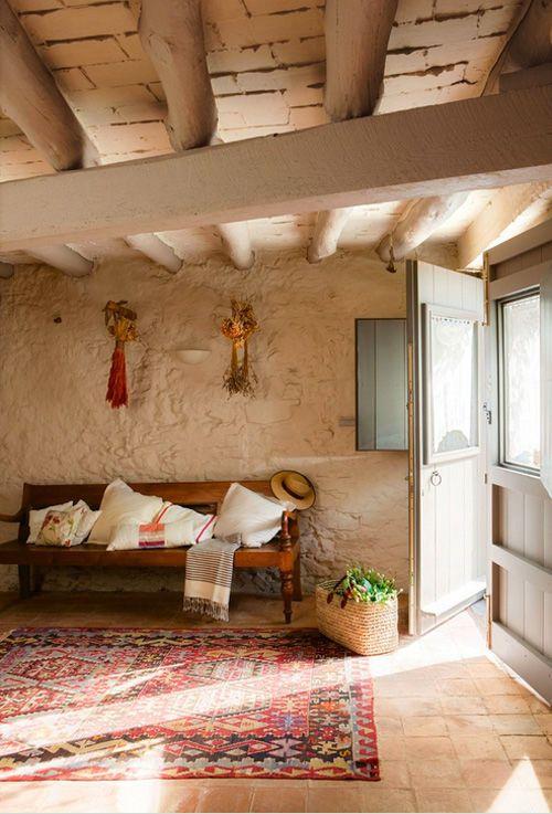 decoración con alfombras kilim