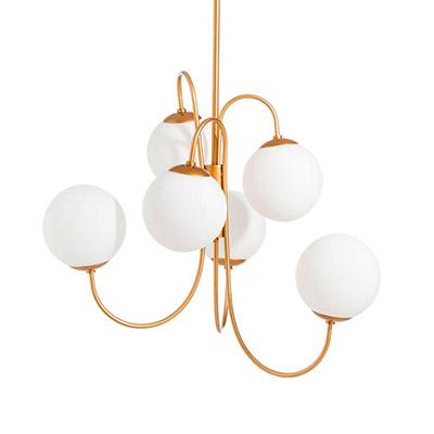 lampara de techo con bolas de cristal