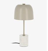 Lámpara de mesa de noche de metal y marmól de color beige