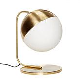Lámpara de mesa dorada de latón