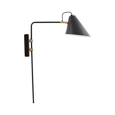 lámpara pared negra y dorado