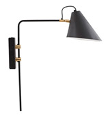 lámpara de pared metal negro