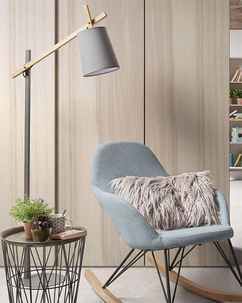 lámpara de diseño escandinavo de color gris