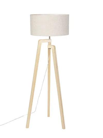 lámpara pie madera y blanca