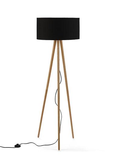 lámpara pie tripode madera