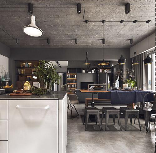 como decorar una cocina comedor de estilo industrial