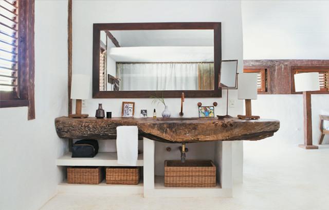Decoración de un baño rústico