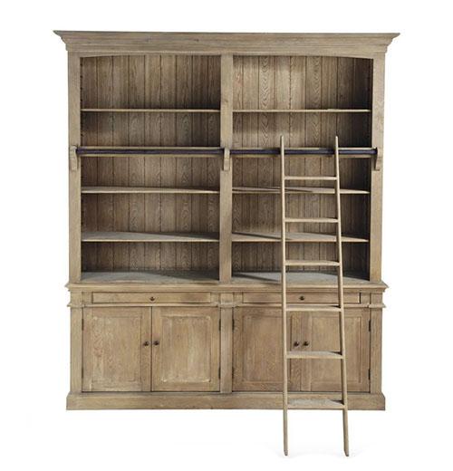 librería de madera de estilo rústico industrial