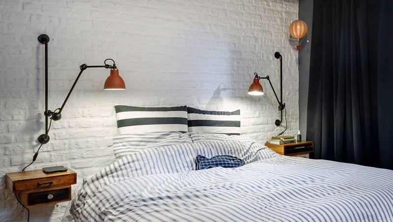 Lámparas en una habitación tipo loft industrial