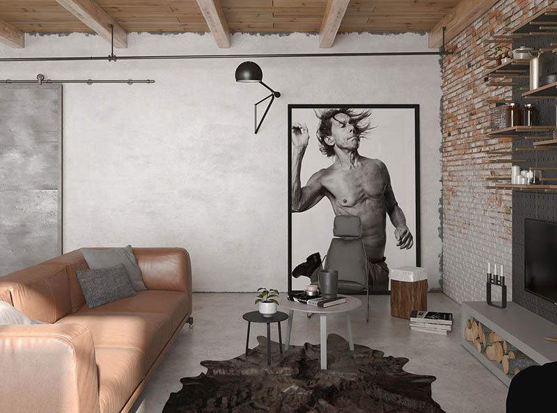 paredes de ladrillos vistos en una casa de estilo industrial
