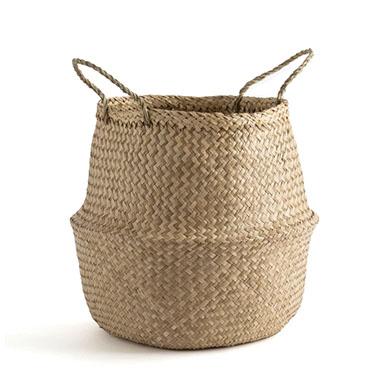 cesta macetero de fibra natural