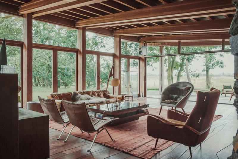 salón rústico moderno con muebles vintage
