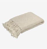 plaid de algodón con flecos color beige