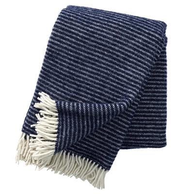 plaid de lana pura virgen 100% de color azul oscuro