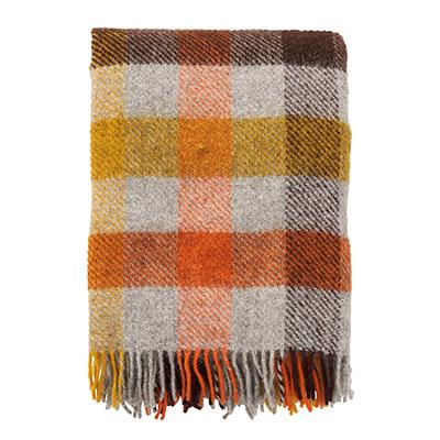 manta de cama o sofa de lana 100% pura a cuadros de colores