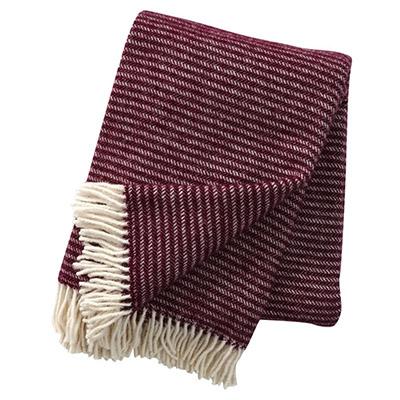 plaid de lana 100% pura virgen de color burdeos con flecos