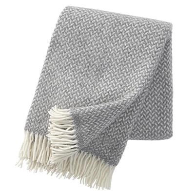 plaid de lana virgen 100% de color gris claro
