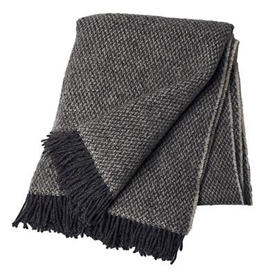 manta de lana 100% virgen de color gris oscuro