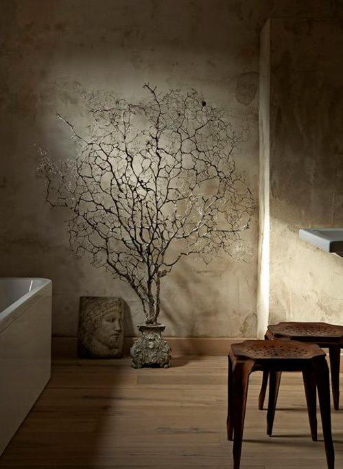 Materiales naturales en la decoración de estética wabi sabi