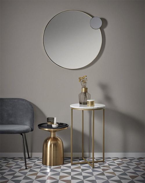 mesa auxiliar de mármol redonda con patas de metal