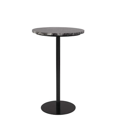 mesa auxiliar alta de metal y mármol de color negro
