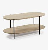 mesa centro ovalada de madera