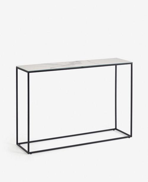 consola rectangular alta de mármol