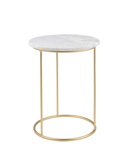 mesa auxiliar redonda y dorada