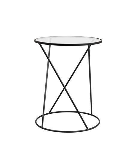 mesa auxiliar de cristal y metal