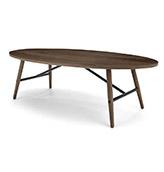 mesa baja ovalada de madera