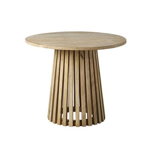 mesa auxiliar de madera redonda
