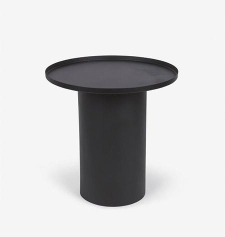 mesa auxiliar redonda metal color negro